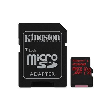 256GB microSDHC Kingston Canvas React 100R/80W U3 UHS-I V30 A1 kártya + adapter  (SDCR/256GB)