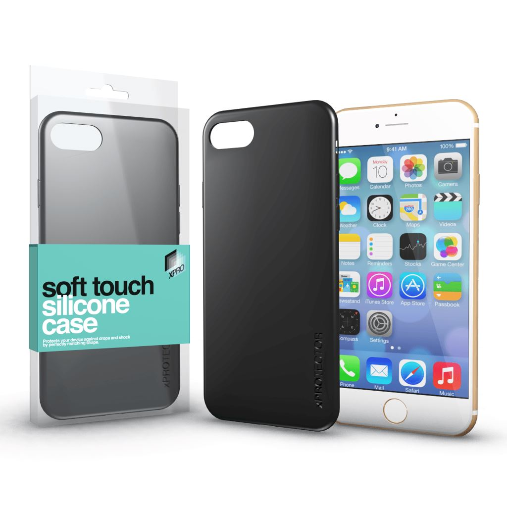 Xprotector Soft Touch Silicone Apple iPhone 7/8 tok fekete  (114302)