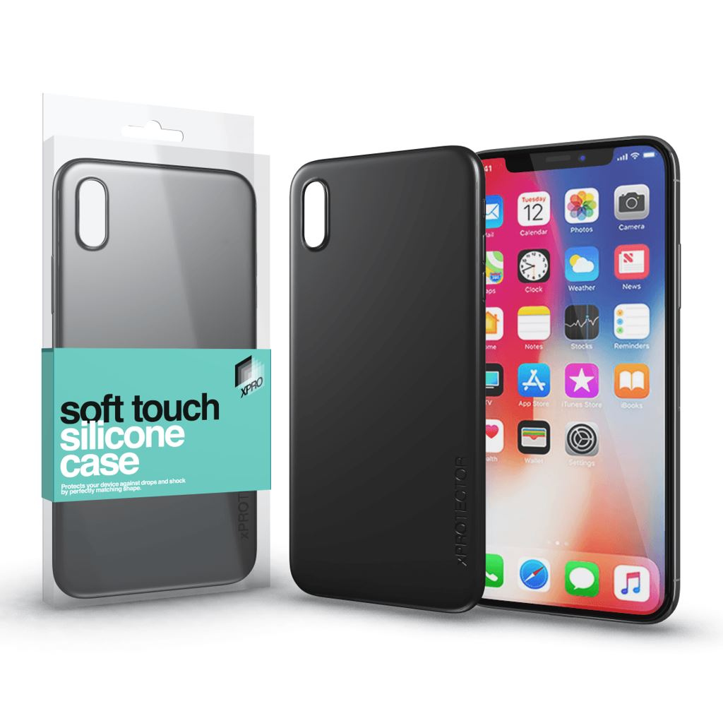 Xprotector Soft Touch Silicone Apple iPhone X tok fekete (114304)