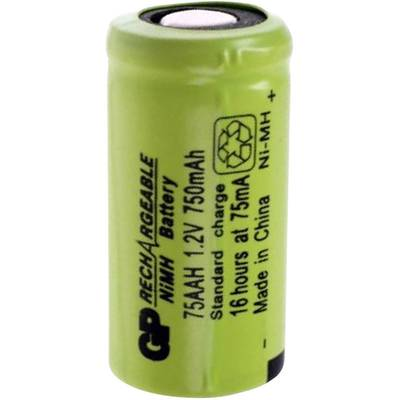 2/3 AA akku NiMH 1.2V 750 mAh, Flat-Top, GP Batteries GP75AAH